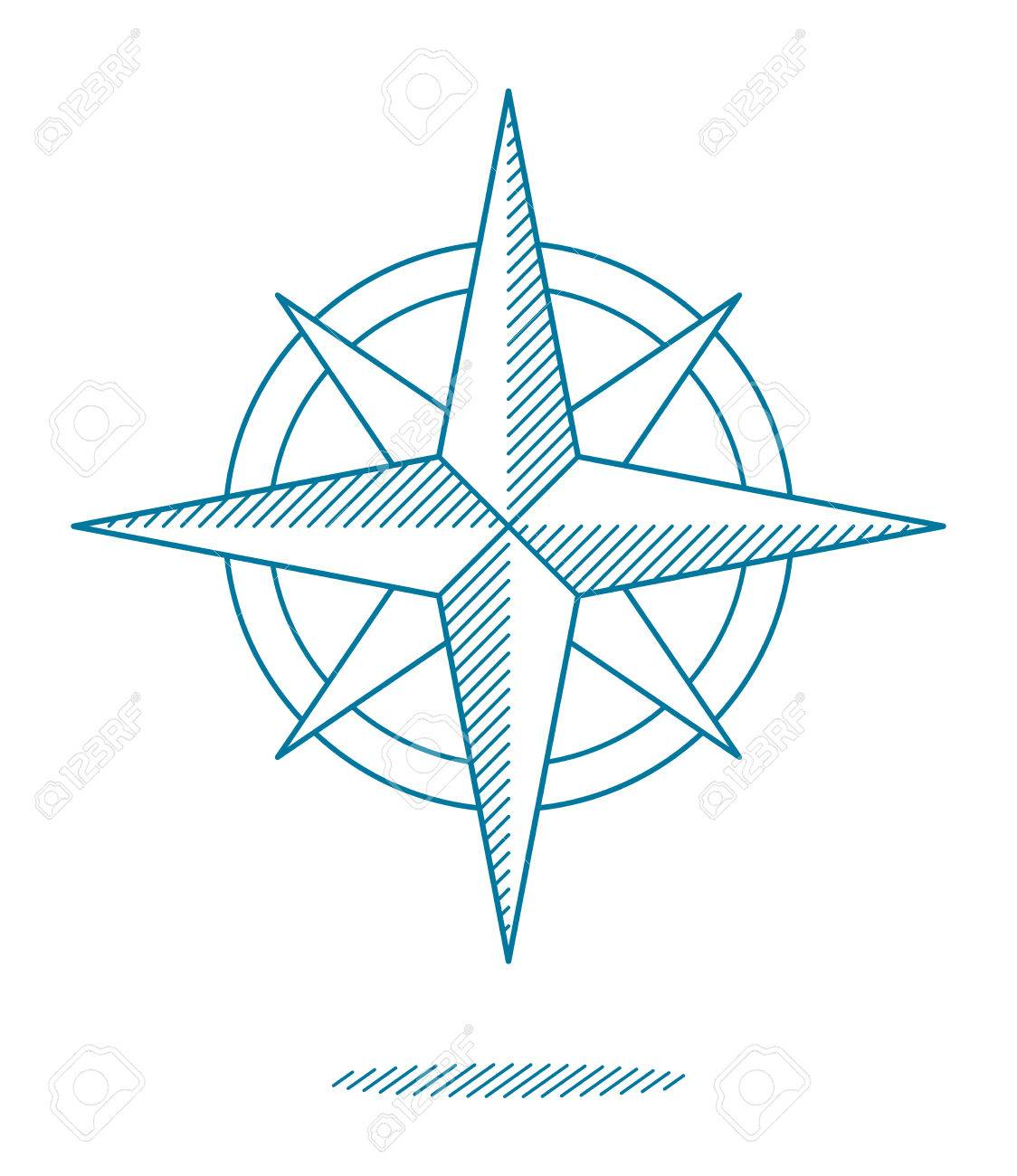 1124x1300 Blue Compass Rose Icon With Hatching For Nautical Themed Designs