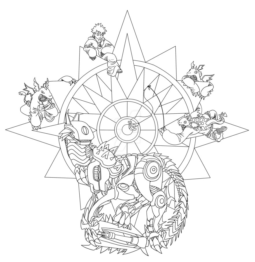 881x906 Rose Compass Line Art By Snipergirl0907