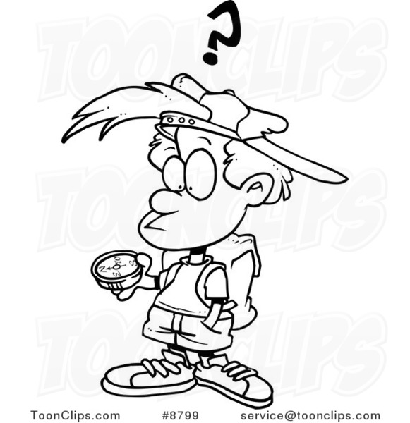 581x600 Cartoon Blacknd White Line Drawing Of Confused Boy Using