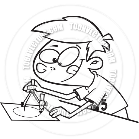 460x460 Cartoon Boy Drawing With A Compass (Black Amp White Line Art) By Ron