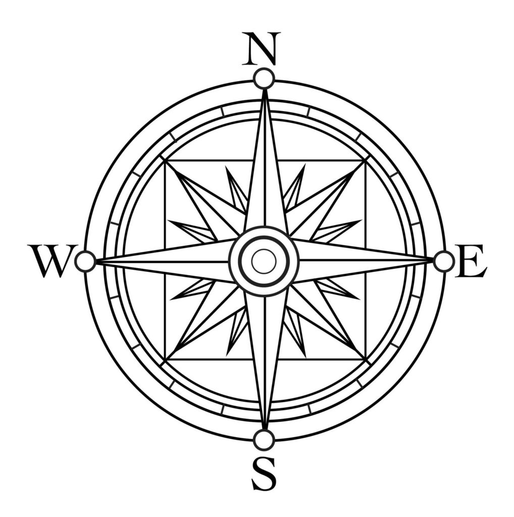 1018x1024 Compass Rose Coloring Page