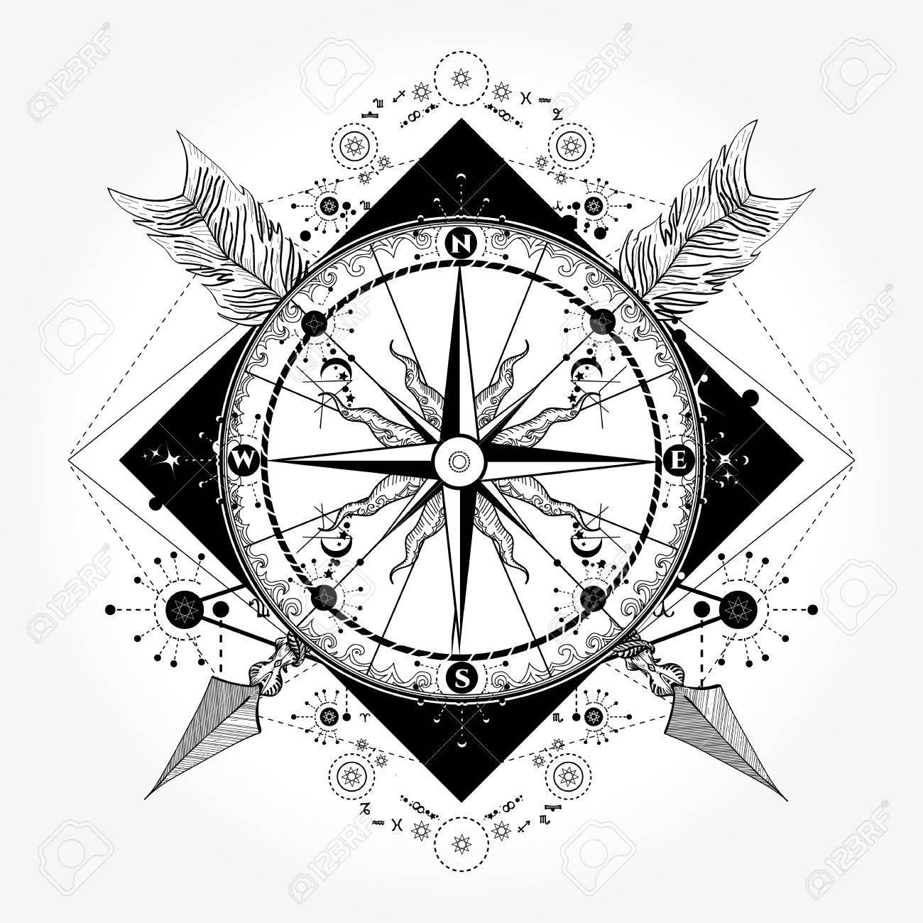 Compass Tattoo Drawing At GetDrawings