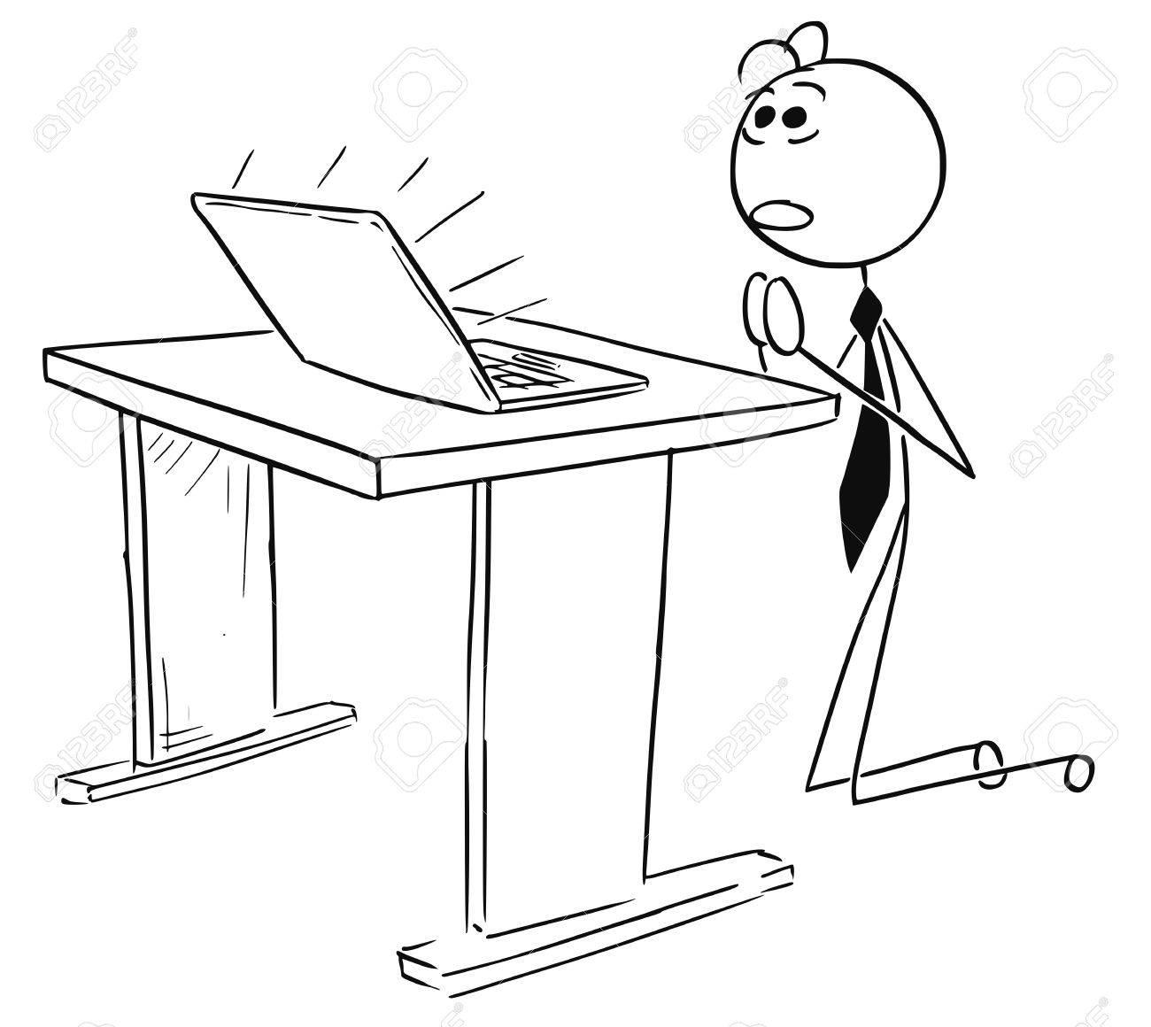1300x1160 Cartoon Vector Stick Man Illustration Of Businessman Kneeling