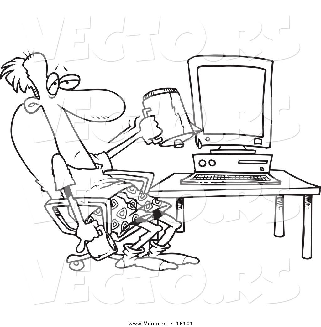 1024x1044 Computer Cartoon Drawing Vector Of A Cartoon Computer