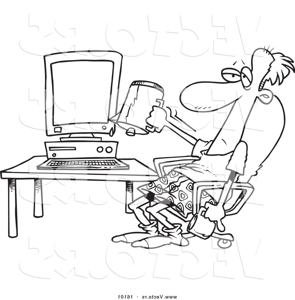 1024x1044 Vector Of A Cartoon Computer