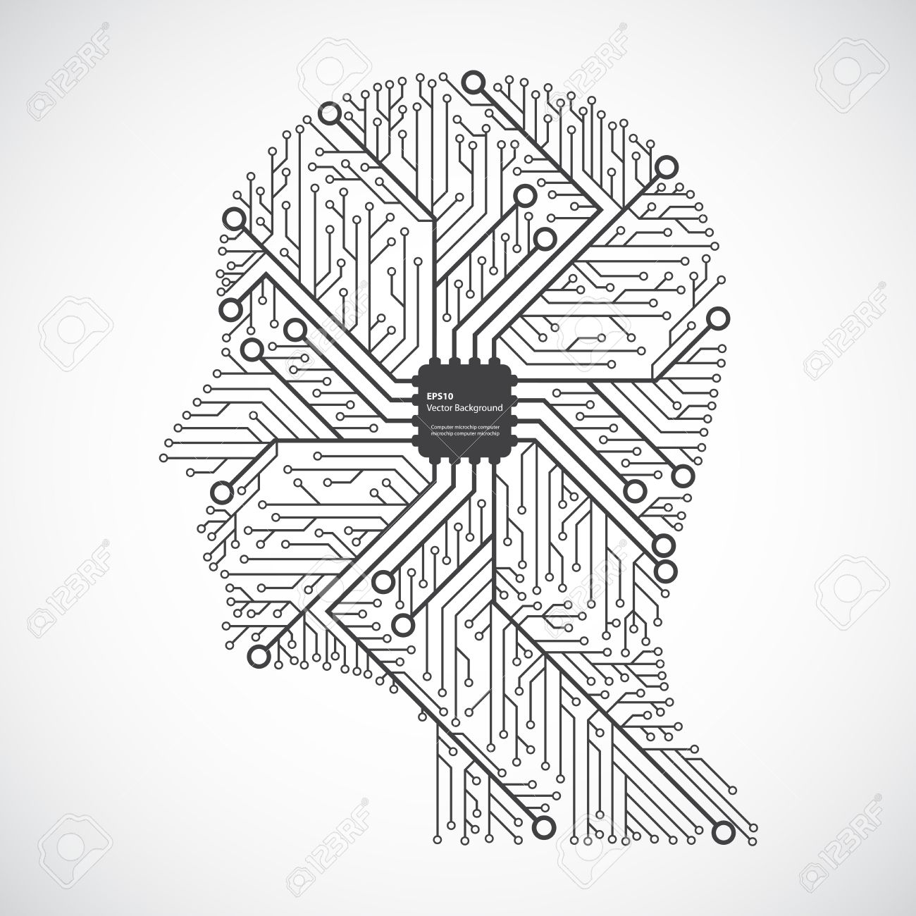 1300x1300 Head Computing Technology In An Electronic Circuit Chip. Design