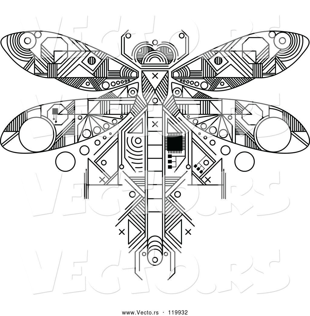 1024x1044 Vector Of Dragonfly Motherboard Computer Chip