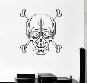 300x288 Wall Decal Computer Geek Skull Pc Gamer Chip Vinyl Stickers