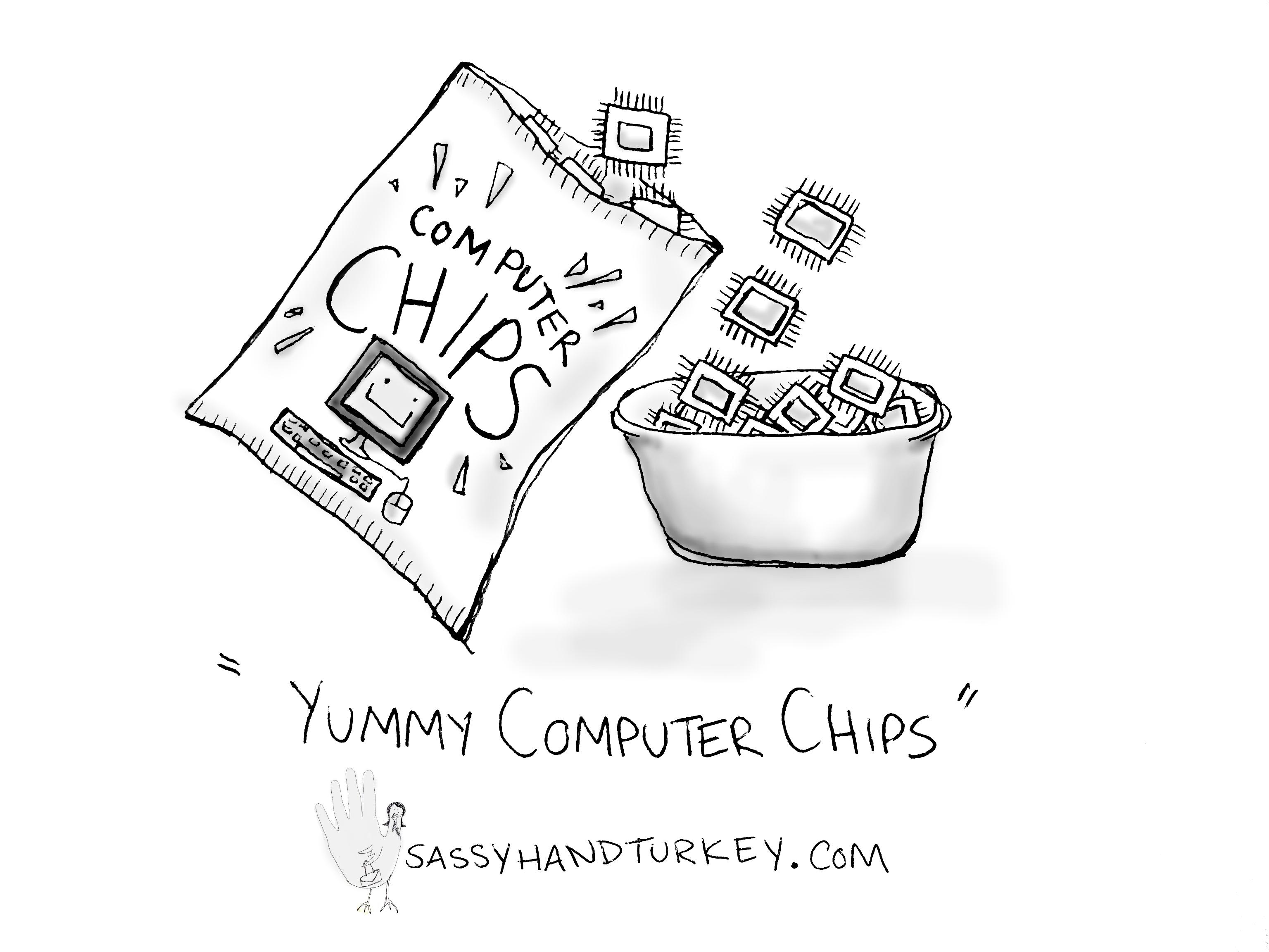 3072x2304 Yummy Computer Chips Sassy Hand Turkey