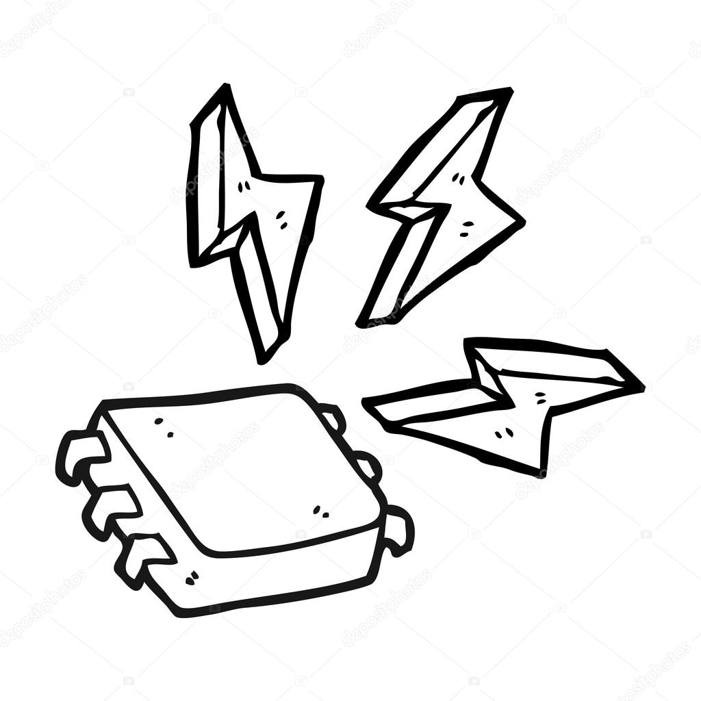 1024x1024 Black And White Cartoon Computer Chip Stock Vector