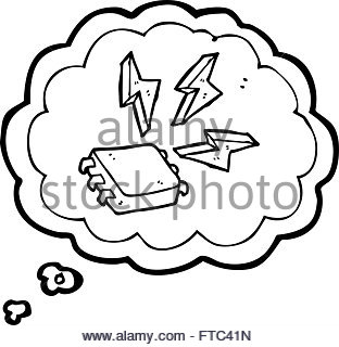 312x320 Cartoon Computer Chip With Thought Bubble Stock Vector Art