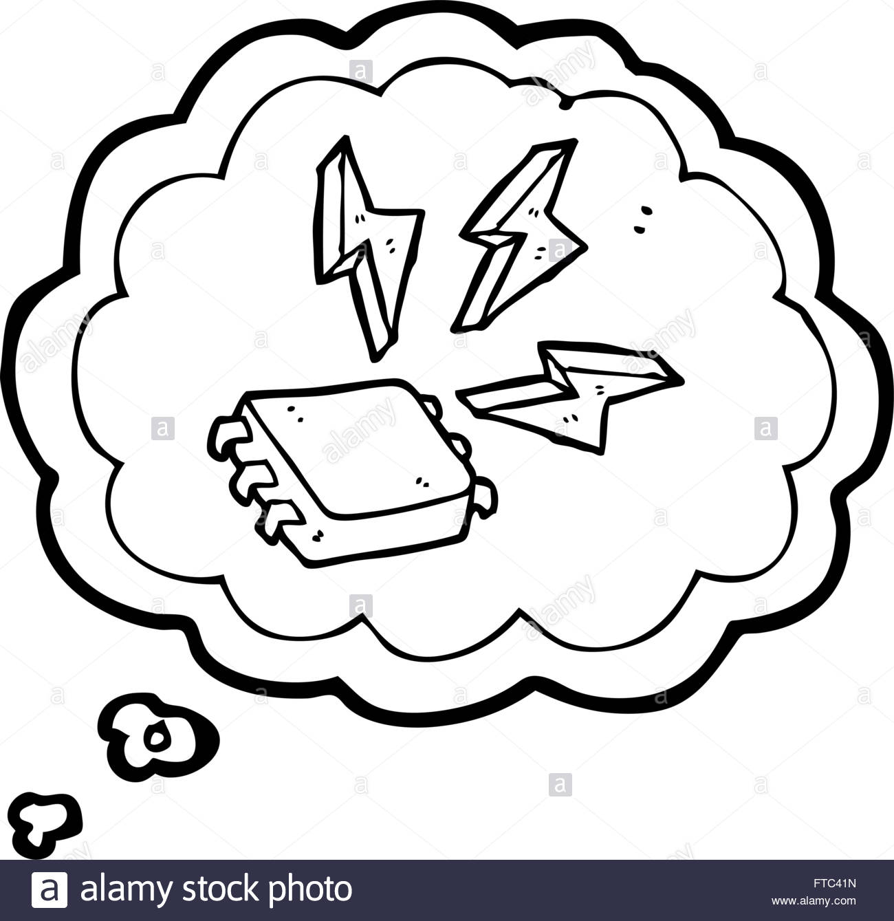 1300x1339 Freehand Drawn Thought Bubble Cartoon Computer Chip Stock Vector