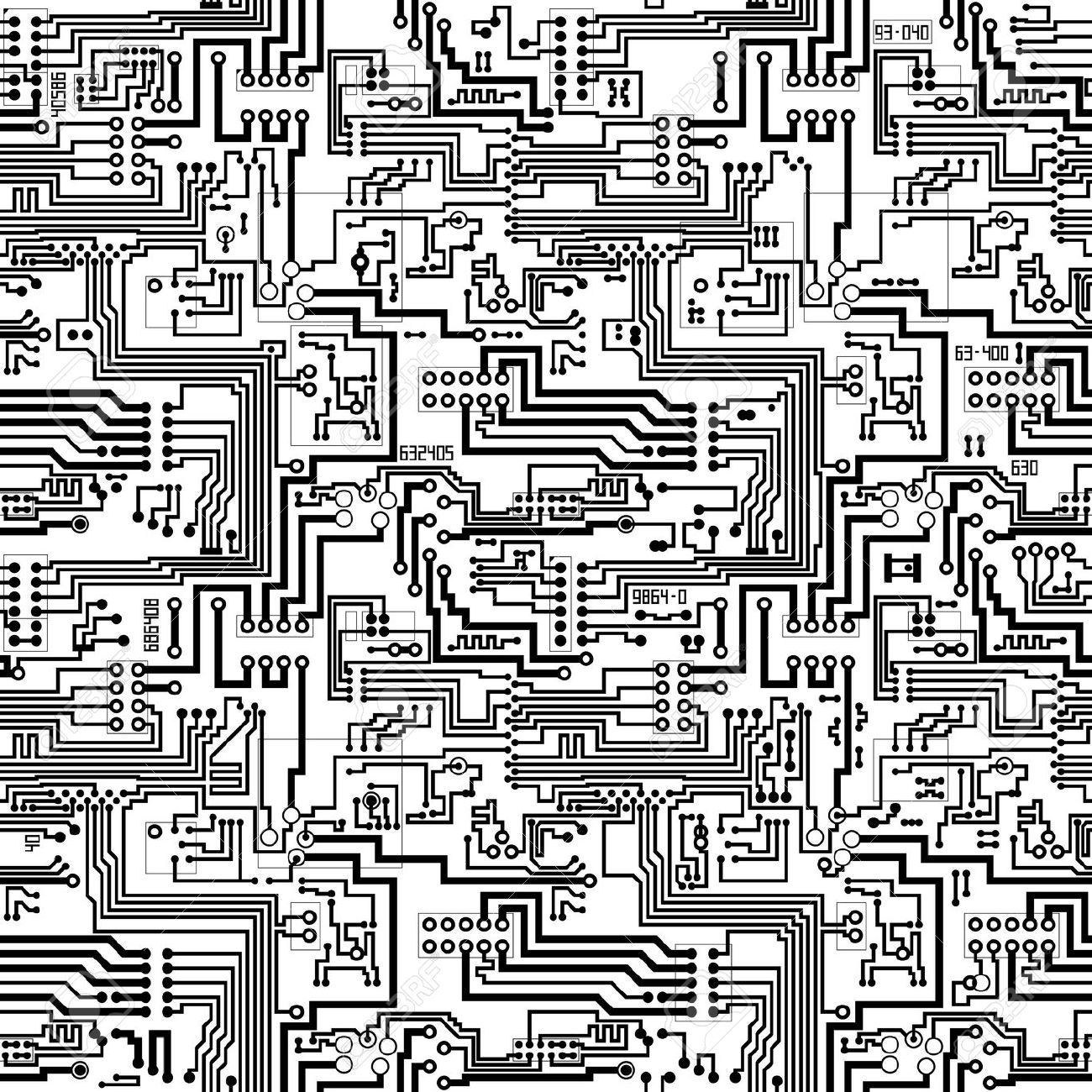 1300x1300 Motherboard Pattern Black And White