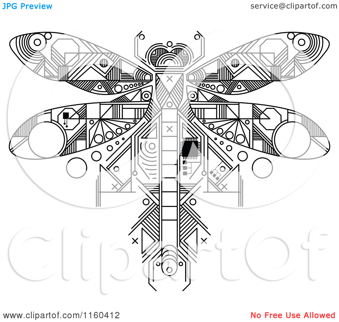 1080x1024 Clipart Of A Black And White Dragonfly Motherboard Computer Chip