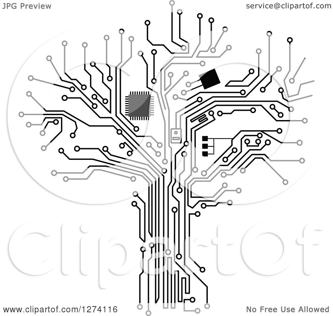 1080x1024 Clipart Of A Grayscale Computer Chip And Circuit Tree 2