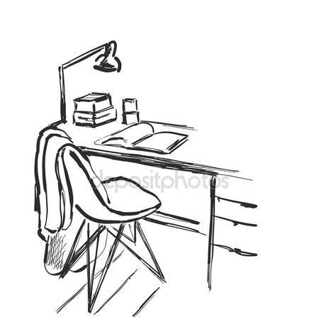 450x450 Desk With A Computer Or Workplace In Office Drawn By Hand Doodle