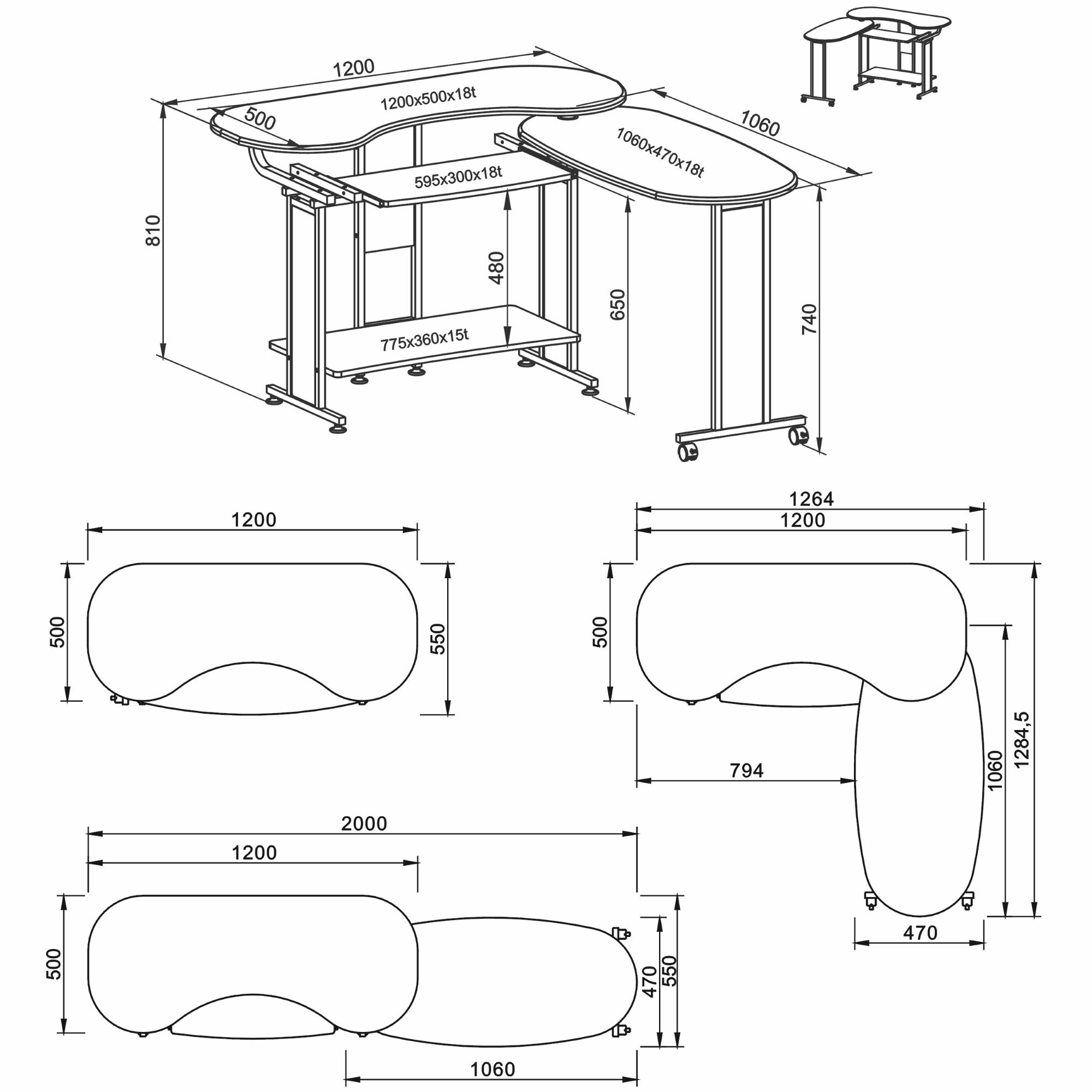 2000x2000 Genuine Piranha Mako Compact Folding Computer Desk Furniture Home