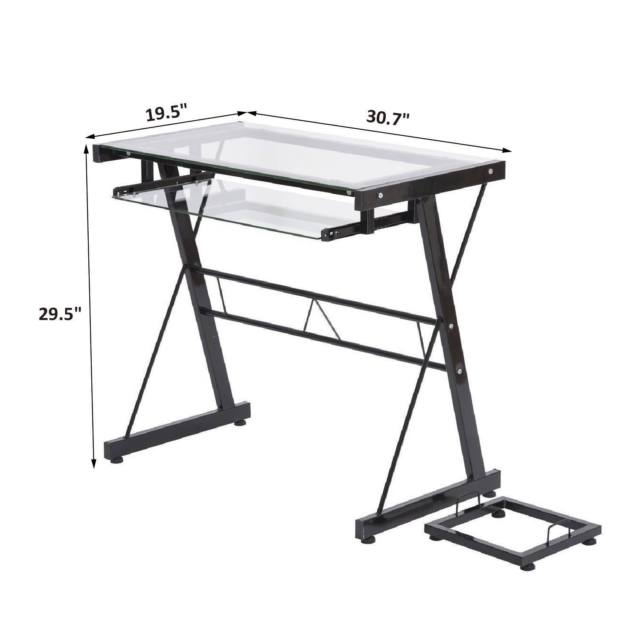 640x640 Homcom Computer Desk Laptop Table Pc Stand Glass Top Wkeyboard