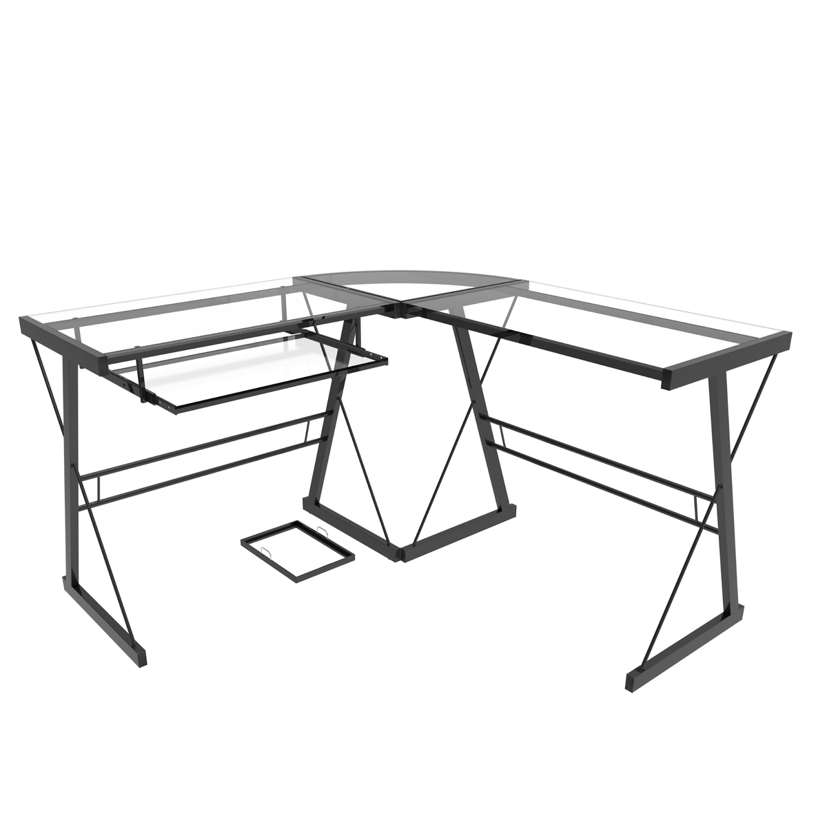 1200x1200 Madison L Shaped Computer Desk In Black And Clear Glass