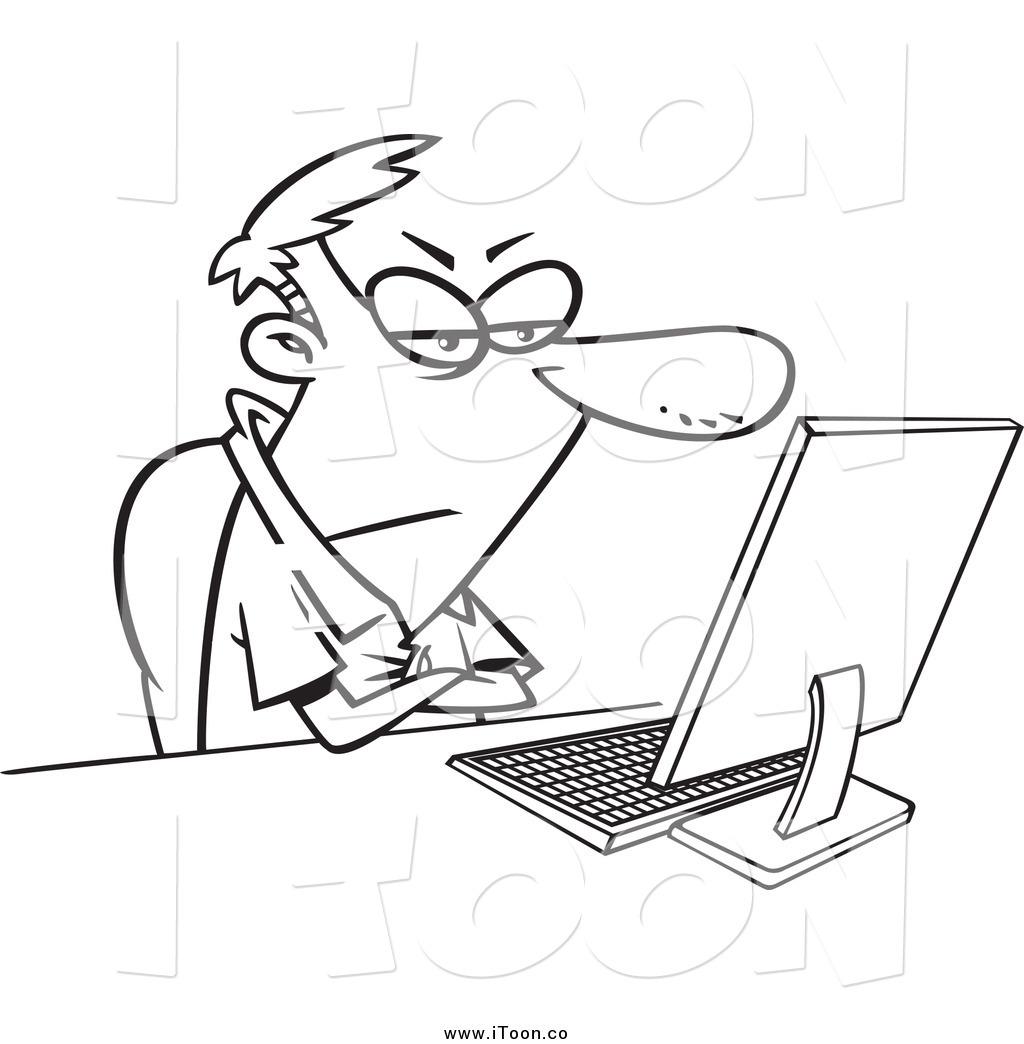 1024x1044 Royalty Free Cartoon Of A Black And White Grumpy Man Sitting