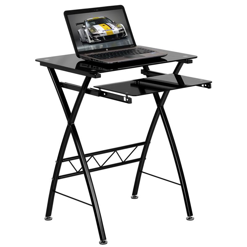 800x800 Black Tempered Glass Computer Desk W Pull Out Keyboard Kay