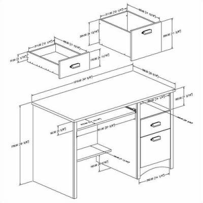 400x400 Computer Table, Desk, Ergonomic Dimensions