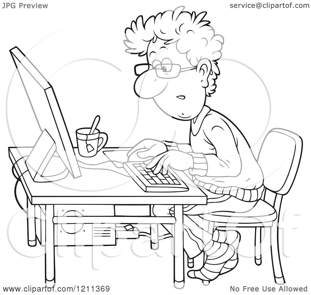 1080x1024 Cartoon Of An Outlined Man Working