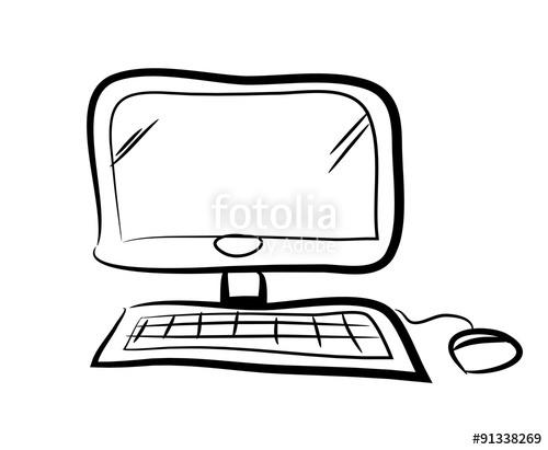 500x411 Computer Doodle, Hand Drawn Vector Doodle Illustration