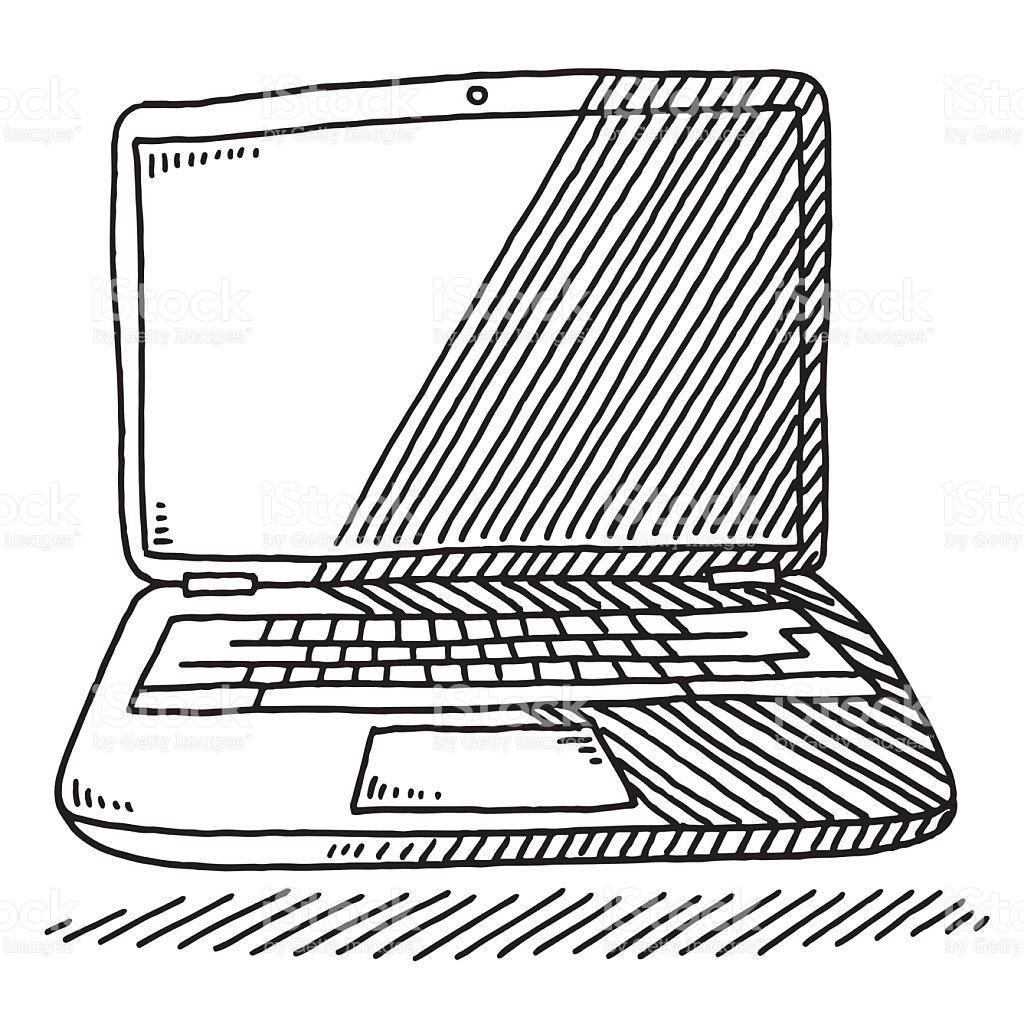 1024x1024 Drawn Notebook Computer Line