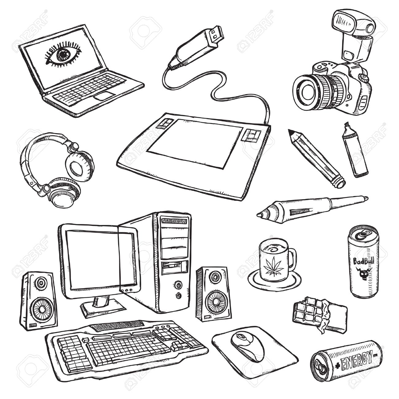 1300x1300 Graphic Designer's Work Place Royalty Free Cliparts, Vectors,
