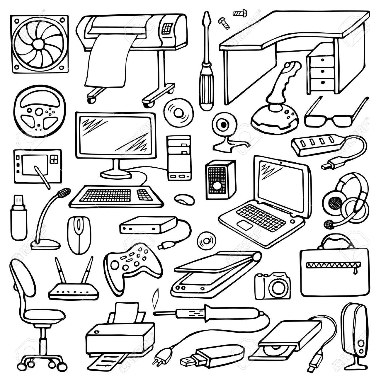 1300x1300 Hand Drawn Doodle Computer Set Royalty Free Cliparts, Vectors,