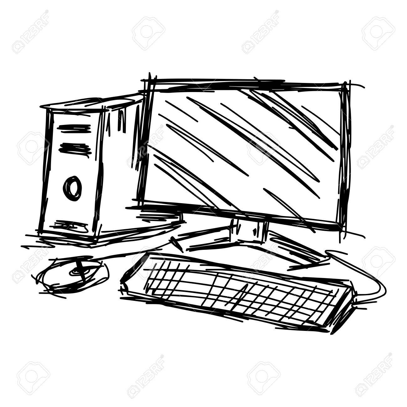 1300x1300 Illustration Doodles Of Sketch Personal Computer Set Royalty Free