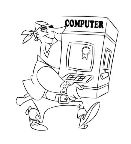 437x480 Pirate Carrying A Computer Coloring Page Free Printable Coloring