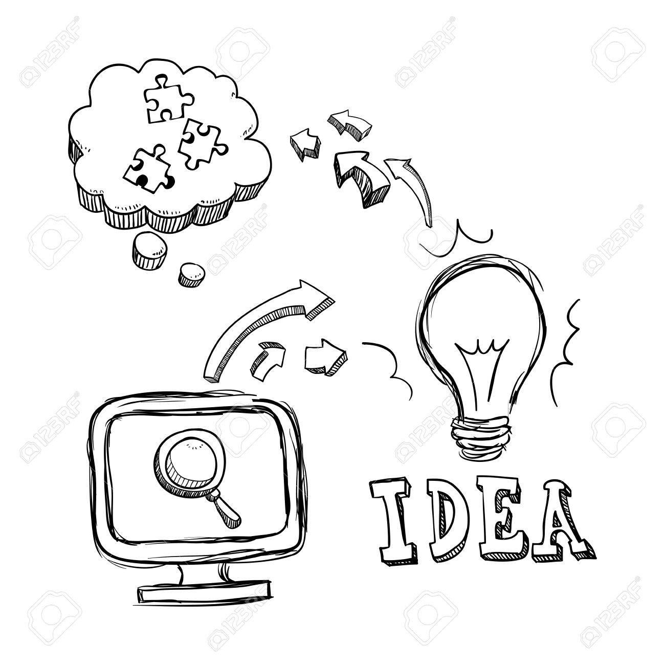 1300x1300 Bulb Computer Lupe Puzzle Big And Great Idea Creativity Icon