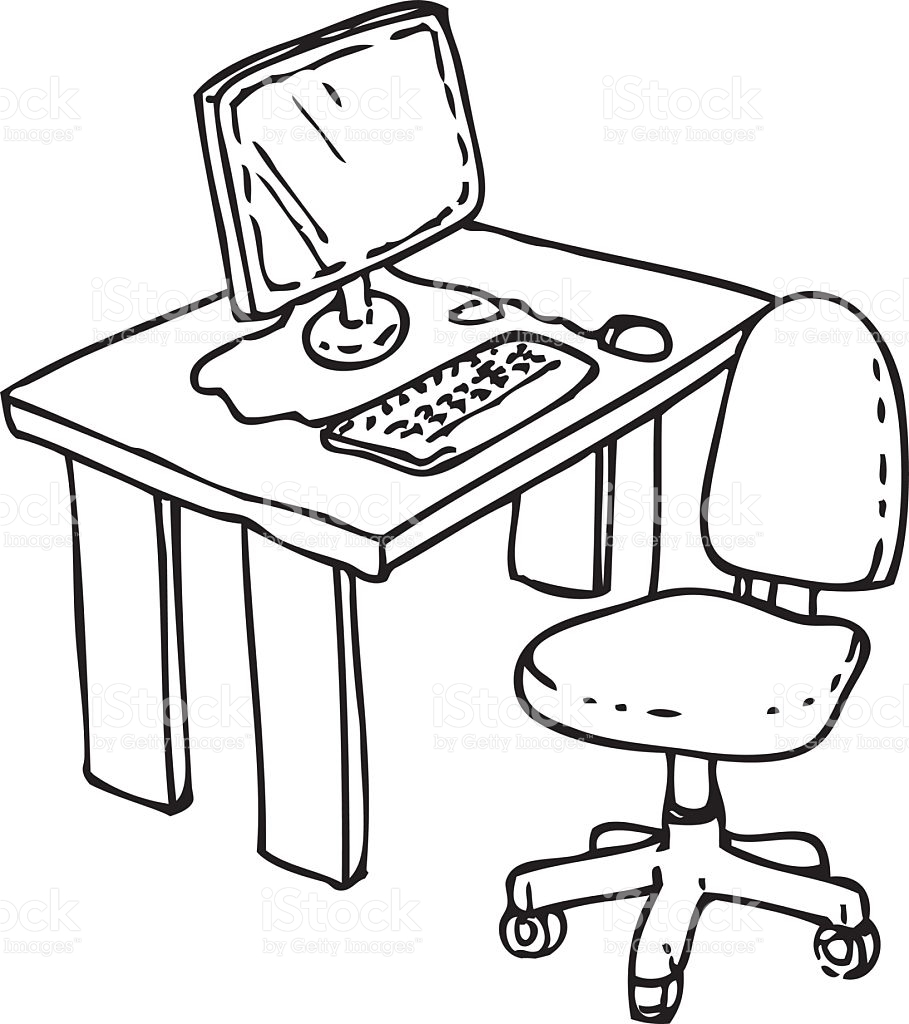 909x1024 Desk Clipart Black And White