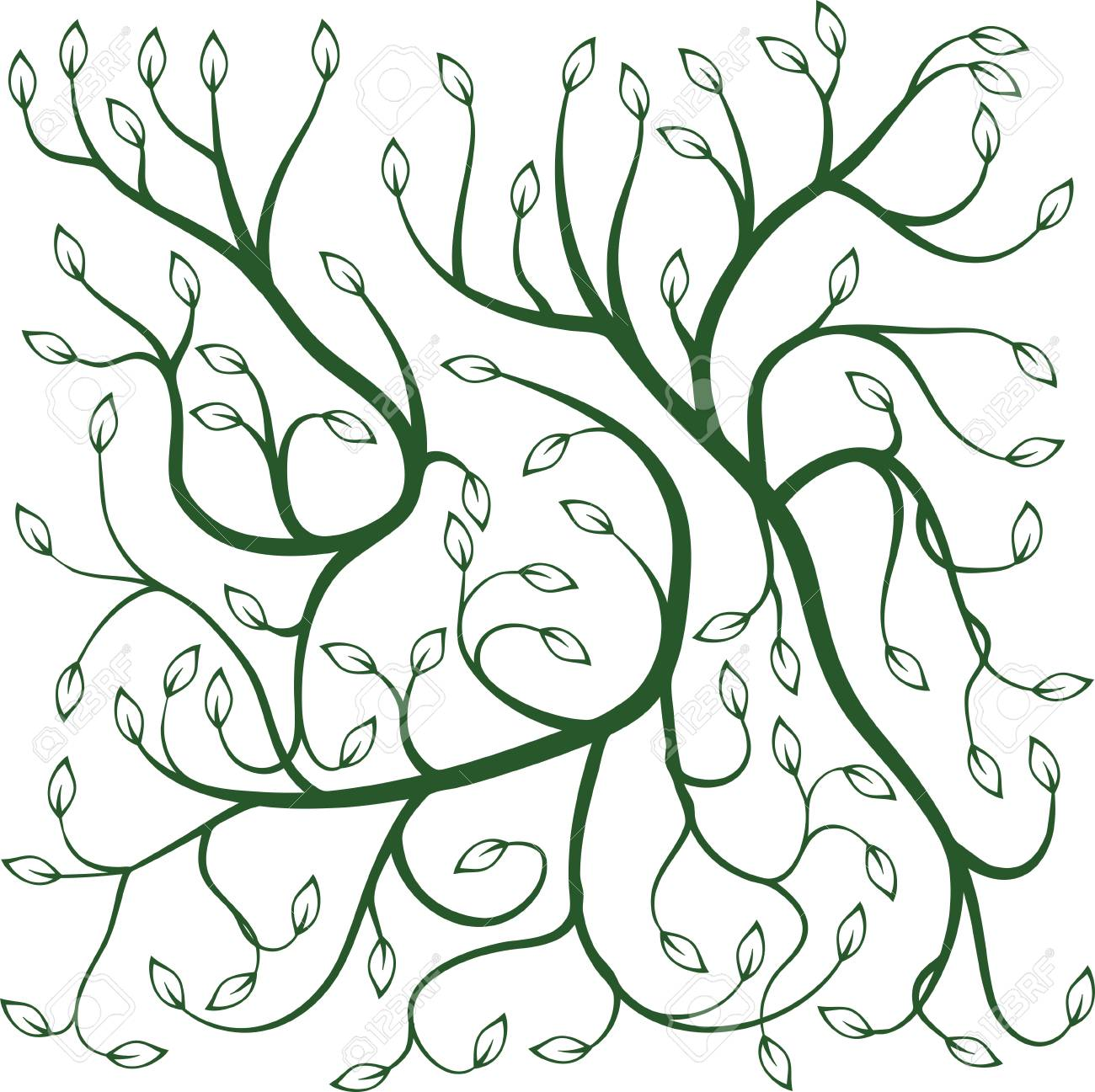 1300x1297 Illustration Of Green Curly Vines With Leaves Computer Graphics