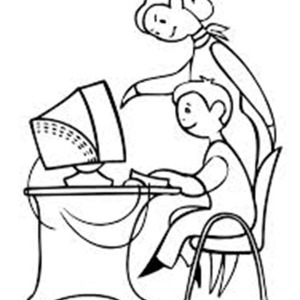 300x300 Computer Lab Coloring Page Coloring Sun