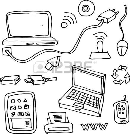 438x450 Drawing By Hand Of Computers, Tablets, Printers, Cables
