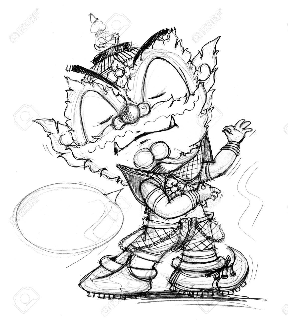 1158x1300 Thai Giant Dancing Cartoon, Character Design Have Pencil Freehand