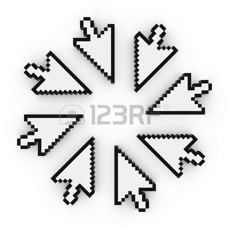 450x450 Circle Of Pixelated Arrow Cursor Computer Pointers 3d Illustration