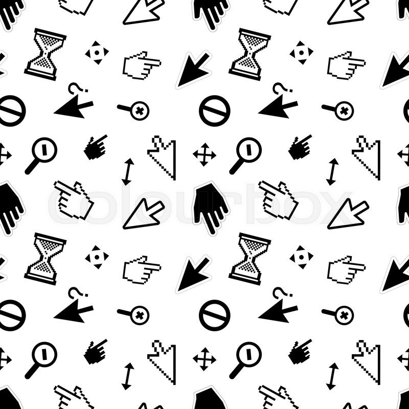 800x800 A Lot Of Computer Arrow Cursors On White, Seamless Pattern Stock
