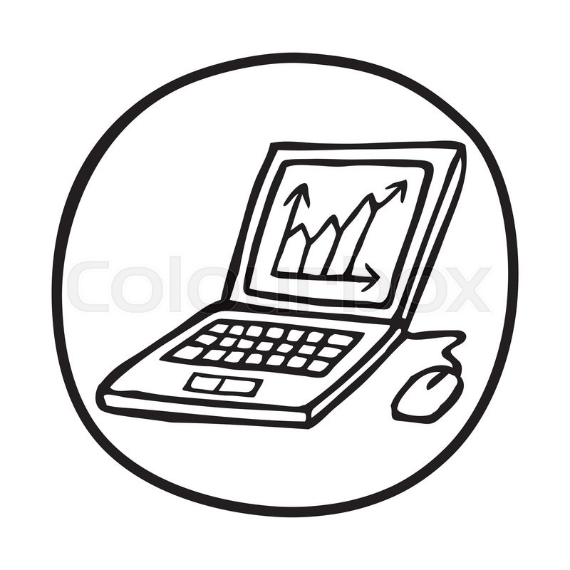 800x800 Doodle Laptop Icon With Chart. Infographic Symbol In A Circle