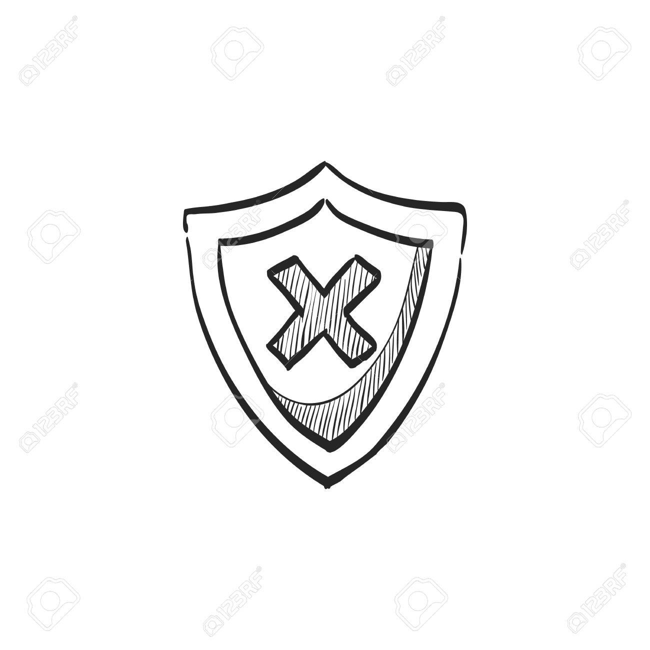 1300x1300 Shield Icon In Doodle Sketch Lines. Protection, Computer Virus