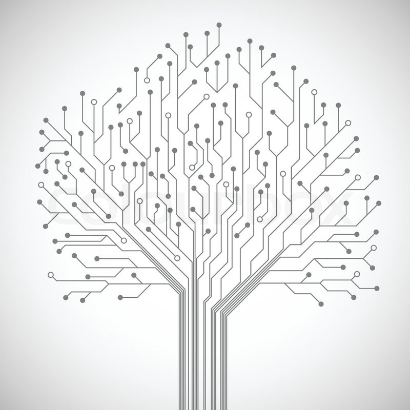 800x800 Abstract Computer Technology Integrated Circuit Board Tree Symbol