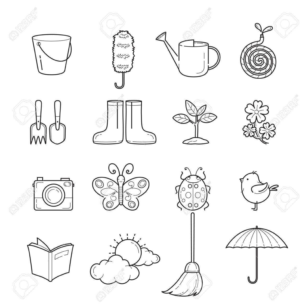 1300x1300 Spring Outline Icons Set, Gardening, Housework, Appliance
