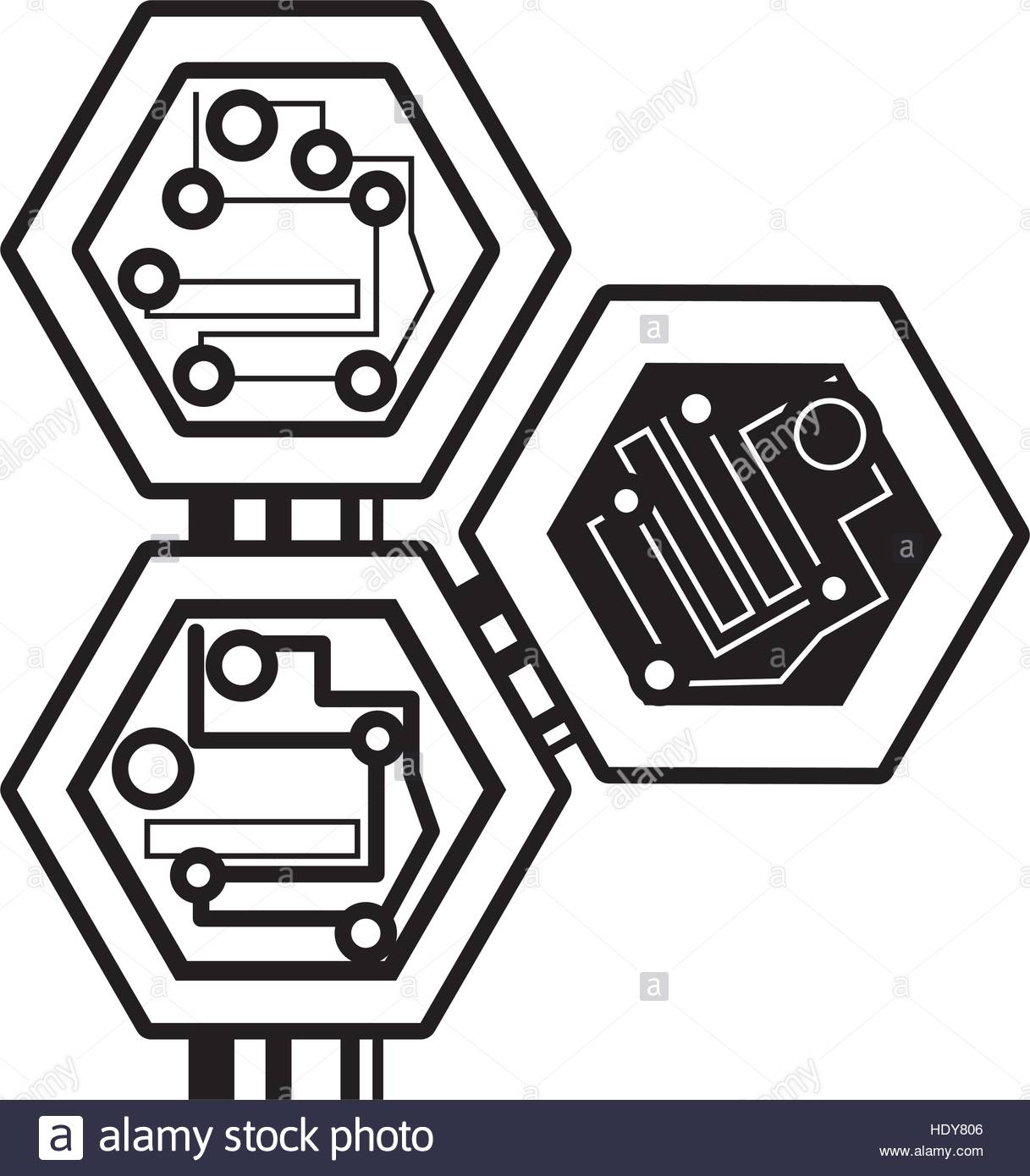 Computer Symbol Drawing At Free For Personal Use Abstract Background With Old Circuit Board 1217x1390 Hexagon Electronic Component Linear Stock Vector