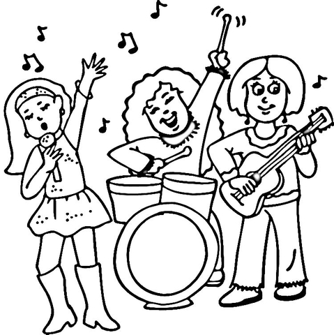479x480 Concert Of A Female Rock Band Coloring Page Free Printable