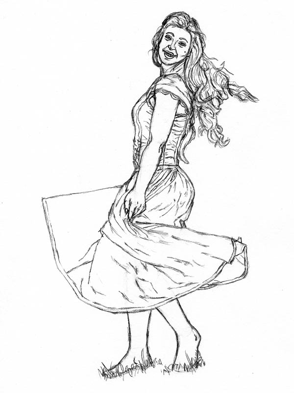 600x800 How To Draw A Woman In A Dress Spinning Around Let's Draw People