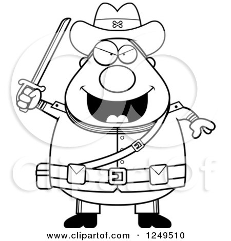 450x470 Clipart Of A Black And White Chubby Civil War Confederate Soldier