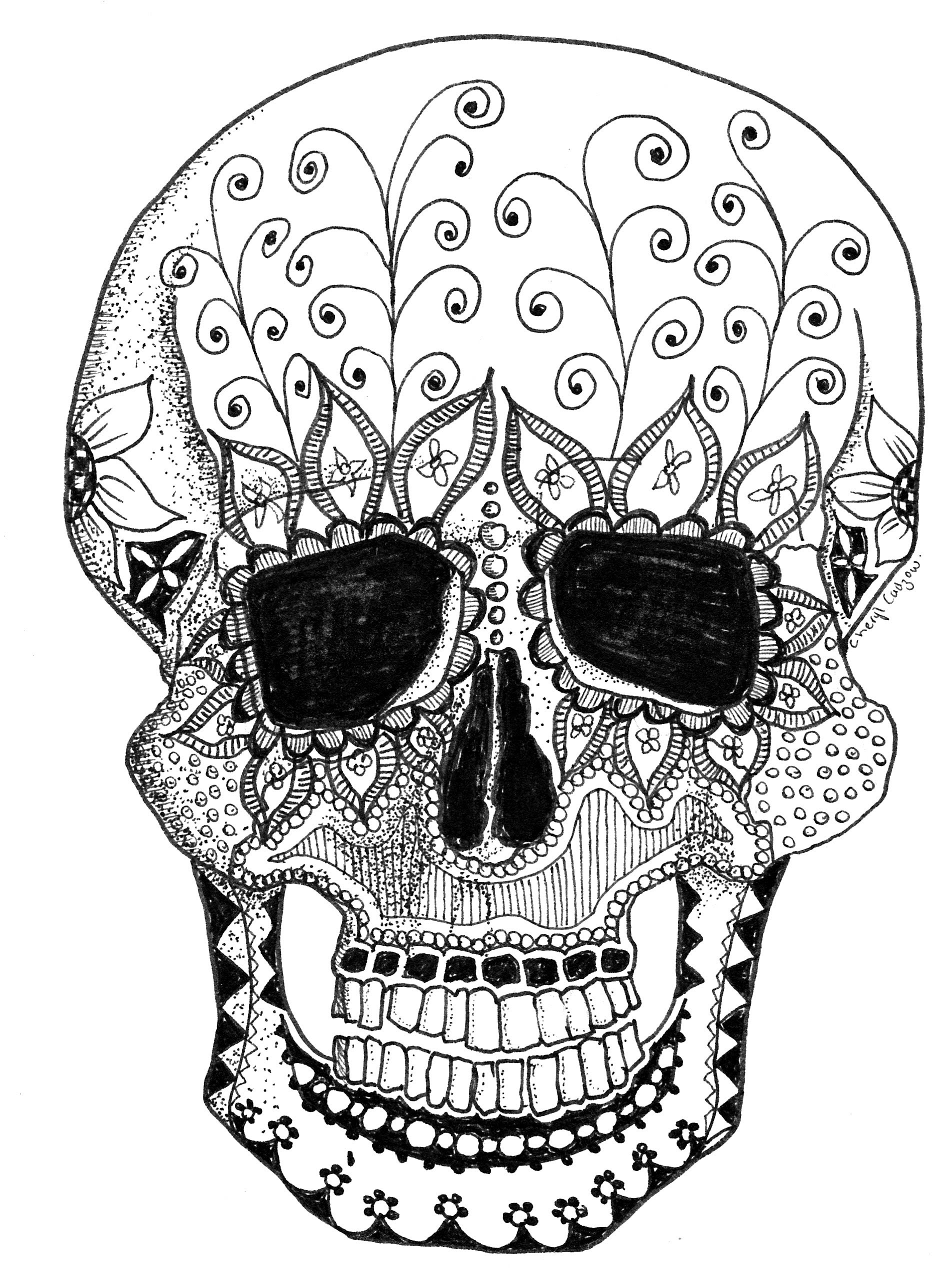 1904x2576 Doodle Art Tutorial Four~day Of The Dead